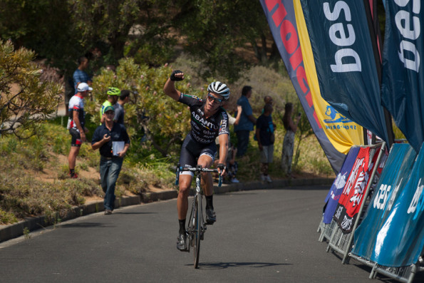 HB Kruger, who will be riding in the colours of Team Telkom this year, won the final stage of last year's Bestmed Tour of Good Hope at the Taal Monument above Paarl. Photo: Capcha