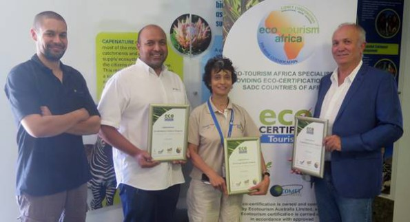 From left to right: CapeNature Tourism Manager Ramese Mathews, CapeNature Executive Director: Marketing & Eco-tourism Sheraaz Ismail, CapeNature Chief Executive Officer Dr Razeena Omar, Comet Corporation Managing Director Bruce See (representing Eco-tourism Africa)