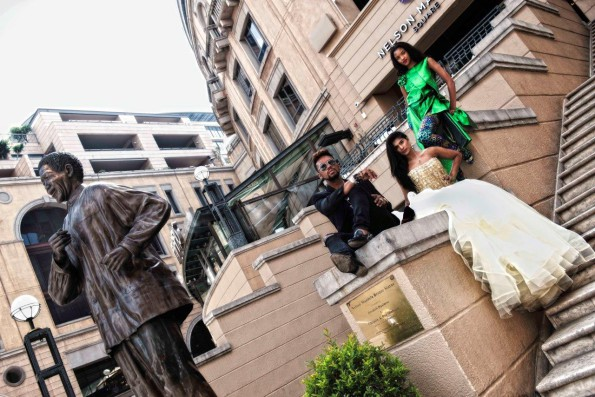 David Tlale photo shoot at Nelson Mandela Square