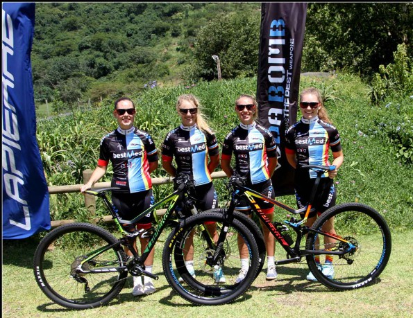Bestmed-Lapierre Factory Team riders, from left, Sabrina van Wyk, Nicolene Marais, Azulde Britz and Lynette Benson at the partnership announcement. Photo: Supplied