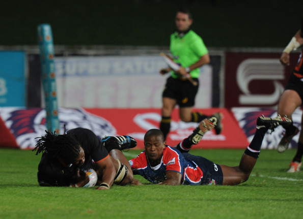 Khaya Malotana of the FNB NMMU-Madibaz defending during the side's opening round FNB Varsity Cup match against UJ. Photo: Saspa