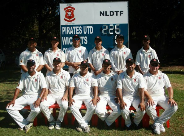 The team of Pirates United who defeated George on Saturday are: Back Row: Jody de Koker, Dehihne Olivier, Bryan Campher,Tyler Bezuidenhout, Chris Marrow and Renaldo van Rooyen Front Row: Bronwell Goeda, Jaco de Lange, Darryl Sigula, Irvin Campher, Ahmed Shayer Yar and Wessel Hartslief.