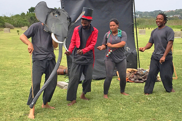 The Lunchbox Theatre Group entertaining and educating the group of learners. From left to right are: Stuart Palmer, Nomzamo Maga, Gailene Wildeman, & Mncedisi Ncedani