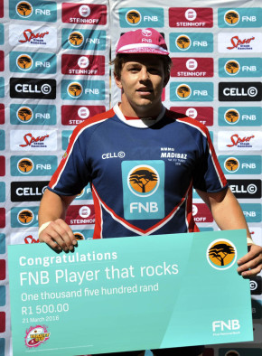 NMMU-Madibaz flanker Brandon Brown was named the Player that Rocks in the team's victory over Ikeys earlier this week. Photo: Saspa