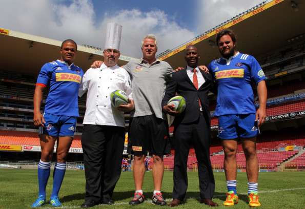 Juan de Jongh (WP Rugby Co-Captain), Tsogo Sun's Southern Sun Newlands Executive Chef Alex Macfarlane, WP rugby coach Robbie Fleck, Southern Sun Newlands General Manager Ayanda Mazibuko, and Frans Malherbe (WP Rugby Co-Captain)