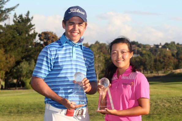 Curro SA Juniors International Overall Boys Winner Garrick Higgo and Overall Girls Winner Woo-Ju Son at the Durbanville Golf Club; credit Shaun Roy / ImageSA