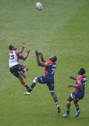 NMMU Madibaz's Kevin Kaba challenges for possession in the Varsity Cup match against Pukke in Johannesburg on Monday. Photo: Saspa