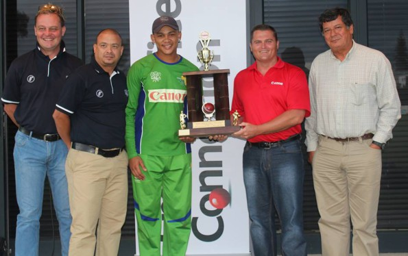 Marcel de Ridder (2nd from right), the Managing Director of Canon SWD handed-over the Canon Friendship Cup to Marcello Piedt, the SWD captain after SWD Cricket retained the trophy when they defeated the Eagles by 42 runs. Also on the photo are Albertus Kennedy (CEO SWD Cricket), Rudy Claassen (President SWD Cricket) and Johan Prinsloo (CEO of SWD Eagles Rugby)