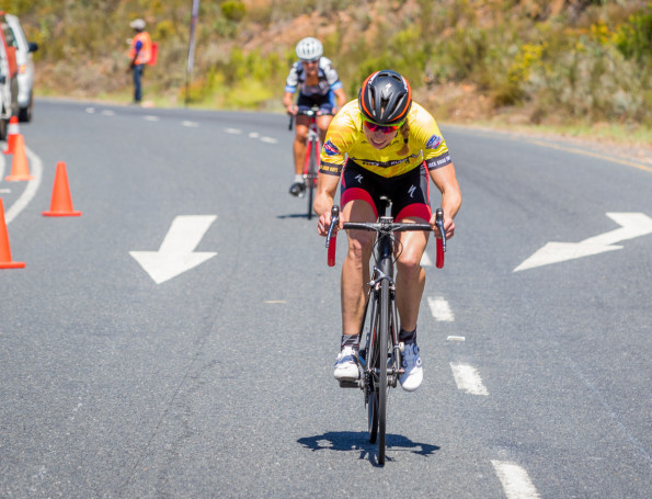 Denmark's Annika Langvad (Spur-Specialized) won the queen stage of the Bestmed Tour of Good Hope on top of Du Toitskloof Pass outside Paarl today. Photo: Warren Elsom/Capcha