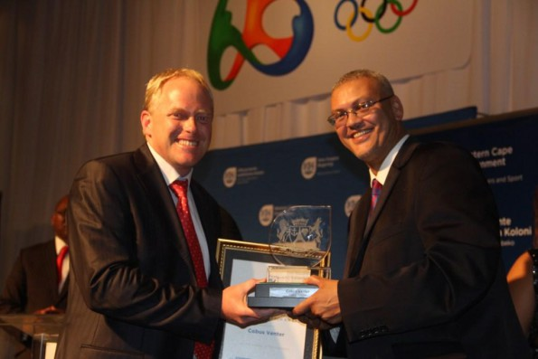 Chief Director Advocate Lyndon Bouah with the recipient of the Tim Noakes award, Cobus Venter