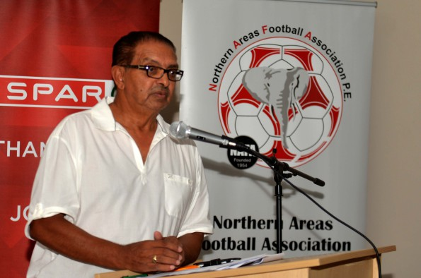 Northern Areas Football Association chairman Valentine Brink at the launch of the annual Easter soccer tournament. Photo: Charles Pullen