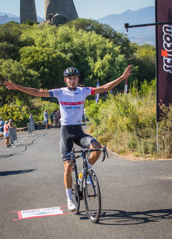 Keagan Girdlestone of Dimension Data won the final stage of the Bestmed Tour of Good Hope at the Taal Monument above Paarl today. Photo: Warren Elsom/Capcha