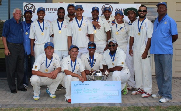 The victorious team of Union Stars who successfully defended their title as Premier League champions of SWD Cricket when they defeated the George Madibaz by 5 wickets in the final. At the back row are: Chris Andries (Team Manager), Geoffrey Pêrel, Brendon Louw, Enver Venter, Marcello Piedt, Nelson Setimani, Gurshwin Rabie, Merlin Masimela, Jacques Campher, Sammy-Joe Avontuur and Goliath Ewerts (Team Official) Front row: Pieter Stuurman, Leroi Bredenkamp (captain), Justin Jordaan and Mario Jansen.