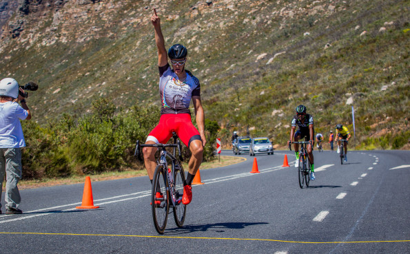 New Zealand's Sam Gaze (Songo.info) won the queen stage of the Bestmed Tour of Good Hope on top of Du Toitskloof Pass outside Paarl today. Photo: Warren Elsom/Capcha