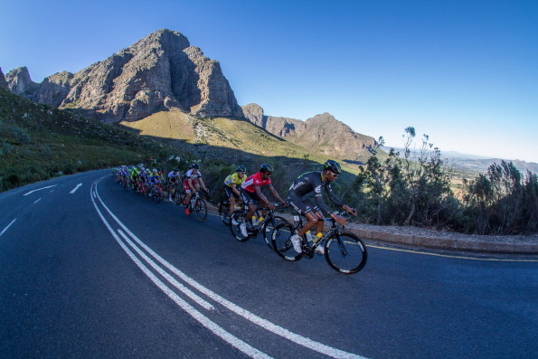 Dimension Data's Amanuel Gebreigzabhier leads teammates Metkel Eyob (king of the mountains) and Stefan de Bod (overall leader) on the early slopes of Du Toitskloof Paas during the fourth stge of the Bestmed Tour of Good Hope that finished in Paarl today. Photo: Warren Elsom/Capcha