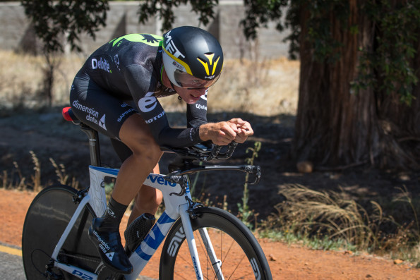 Dimension Data's Stefan de Bod en route to victory in the Buffet Olives time-trial at the Bestmed Tour of Good Hope in Paarl today. Photo: Capcha