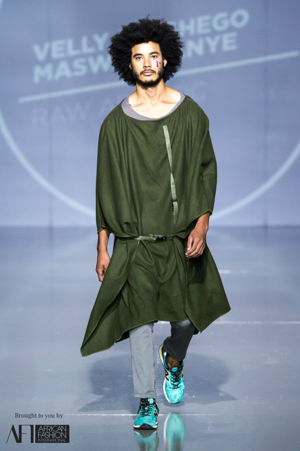 The menswear collection presented by Velly Maswanganye in hues of green offered a unique take on a military yet functional style that can ease into any man's wardrobe