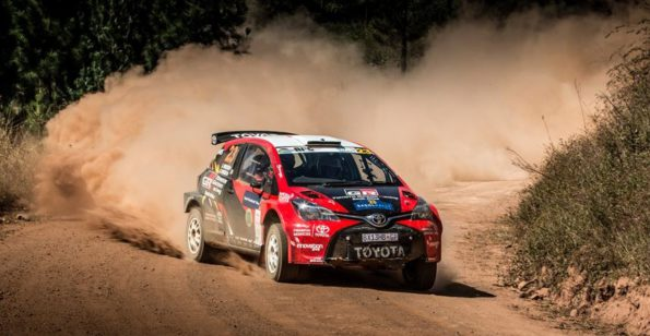 Leeroy Poulter and Elvéne Coetzee: won the Sasol Rally in their Toyota Yaris S2000. Picture: Waldo van der Waal