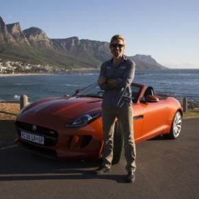 Sharlto Copley and Jaguar F-Type: taming the beast. Picture: Motorpress