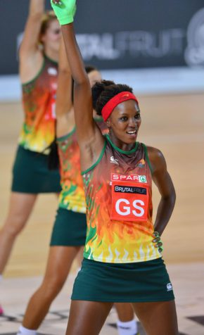 Kifiloe Tsotetsi of the Flames dances in team's intro during the 2016 Brutal Fruit Netball Premier League match between Mpumalanga Sunbirds and North West Flames at the Heartfelt Arena in Pretoria, South Africa on April 15, 2016 ©Gavin Barker/BackpagePix
