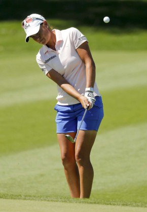 Lee-Anne Pace chips to the ninth green during the first round of the LPGA Tour ANA Inspiration golf tournament at Mission Hills Country Club, Thursday, March 31, 2016 in Rancho Mirage, Calif. (AP Photo/Chris Carlson)
