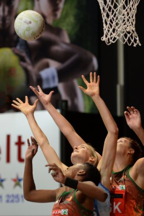 Fikile Mkhuzangwe from the Flames and Remina Stephan from the Southern Stings and Zandre Kruger from the Flames competes for the ball  during the 2016 Brutal Fruit Netball Premier League match between North West Flames and Western Cape Southern Stings at the Heartfelt Arena in Pretoria, South Africa on April 24, 2016 ©BackpagePix