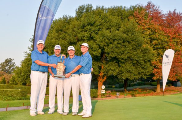 2016 Indwe SA Senior IPT Super Senior champions Central Gauteng; credit Ernest Blignault (fltr – Tim Hewan, Mark Hair, Ivan Palframan – captain and Anton Bezuidenhout)