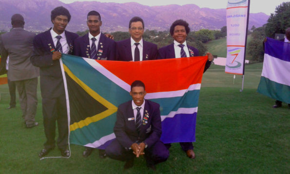 The Presidents Team at the 2016 Africa Zone VI Golf Tournament; credit SAGA. (From left to right: Sentanio Minnie, Aneurin Gounden, team manager Gregory de Doncker, Steven le Roux; front Franklin Manchest)