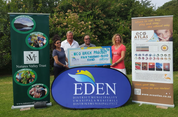 The beneficiaries of the Eco Bricks Project with Eden DM. Fltr are: Ms Carol Levin, Mr Vernon Gibbs- Halls, Cllr McCombi and Ms Rhian Berning