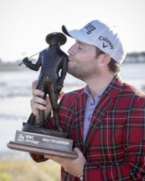 Branden Grace kisses the RBC Championship trophy after winning Sunday at Harbour Town Golf Links in Hilton Head Island. For more photos from the final round, go online to post andcourier.com. Stephen B. Morton/AP