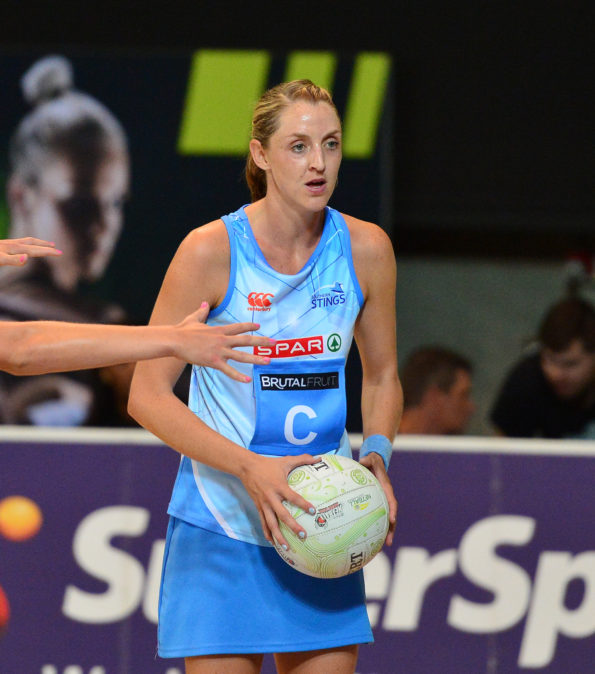 Erin Burger of the Stings during the 2016 Brutal Fruit Netball Premier League game between the Stings and the Jaguars at Heartfelt Arena, Pretoria on 17 April 2016 ©Ryan Wilkisky/BackpagePix