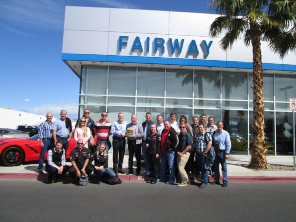 The South African group visiting Fairway Chevrolet in Las Vegas. This is the largest Chevrolet dealer in Nevada, averaging 550 units a month. The dealership covers 17 hectares