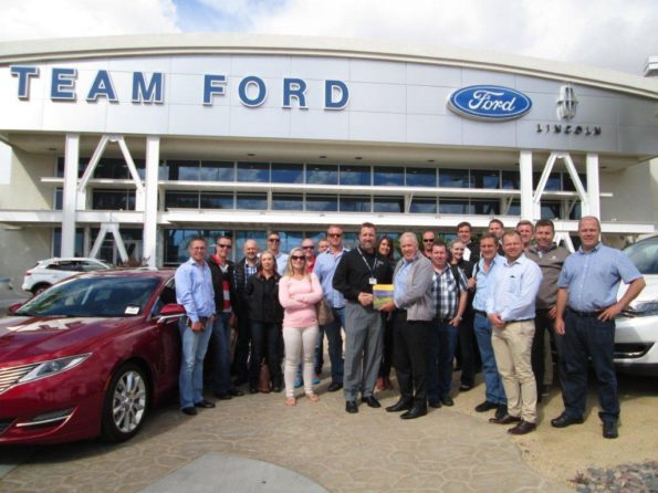 The South African NADA tour group visiting Team Ford Lincoln in Las Vegas. This is the largest Ford dealer in Nevada, averaging 750 new units month. The dealership covers 10 hectares