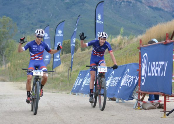 Chris Wolhuter (left) and Craig Boyes of Imbuko-Freewheel Cycology win the final stage and overall title of the 2016 Liberty Winelands MTB Encounter on Saturday. Photo: Full Stop Communications