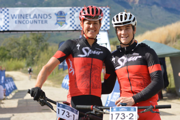 Ariane Kleinhans (left) and Stephan Senekal of Team Spur win the final stage and overall title of the 2016 Liberty Winelands MTB Encounter on Saturday. Photo: Full Stop Communications