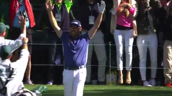 Louis Oosthuizen celebrates his hole-in-one on 16. (CBS)
