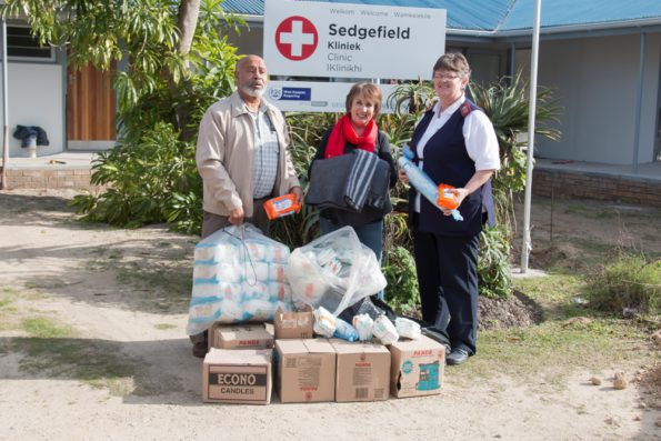 Fltr: Cllr Lionel Esau – Eden DM Deputy Executive Mayor, Cllr Doris Nayler – Eden DM Speaker and Sister Elsa Combrink – Clinic Manager, during the handover at Sedgefield Clinic