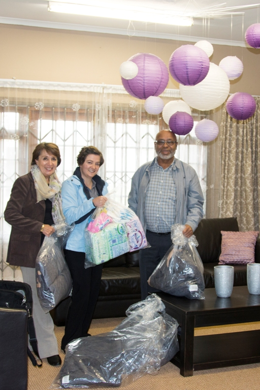 Ms Nadia le Roux (middle),  Social Worker and Centre Manager at Phambili, was the recipient of the donation received from Eden DM Speaker, Cllr Doris Nayler (left) and Deputy Executive Mayor, Cllr Lionel Esau (right)