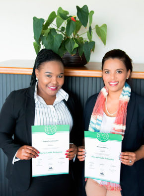 Two of Eden DM's Internal Auditors who achieved their qualifications in IAT. Left, Ms Pamela Lufele (Senior Internal Auditor) and right, Ms Mariska Pieterse (Internal Auditor)