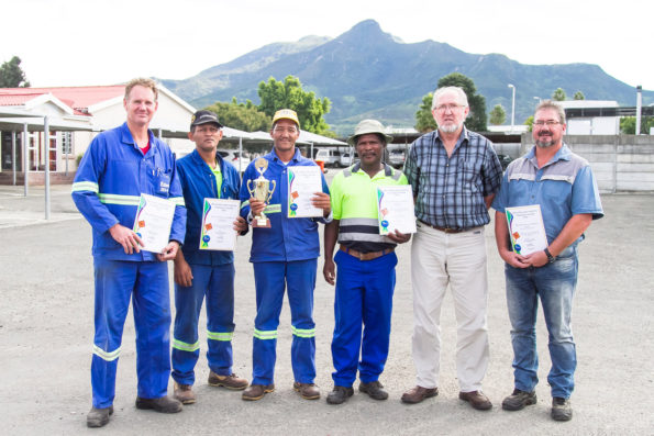 Out of the two workshops, the Oudtshoorn Team won the Safety Trophy for three consecutive years. Employees (fltr): Mr Francois Hough, Mr Manfred Baartman, Mr Henry Stuurman, Mr David Goliath, Mr Hans Ottervanger (Senior Manager: Roads Services) and Mr Dirk Krohn (Superintendent)