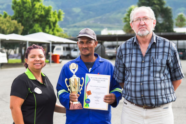 Out of four Construction Teams, the Concrete Team, represented by Mr Dawid Damons (middle), won the 2015 Safety Award. Left is Ms Maevia Lindoor (OHS Officer) and right is Mr Hans Ottervanger (Senior Manager: Roads Services)