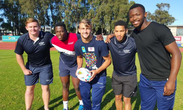 The five FNB NMMU-Madibaz players selected to represent South Africa in the World Rugby U20 Championship are, from left, Nicolaas Oosthuizen, Tango Balekile, Jeremy Ward, Keanu Vers and Junior Pokomela. Photo: Full Stop Communications
