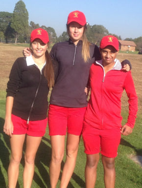 Kajal Mistry (left), Chiara Contomathios and Eleonora Galletti (right) from Gauteng B at the 72-Hole Teams Championship at Middelburg Country Club; credit WGSA