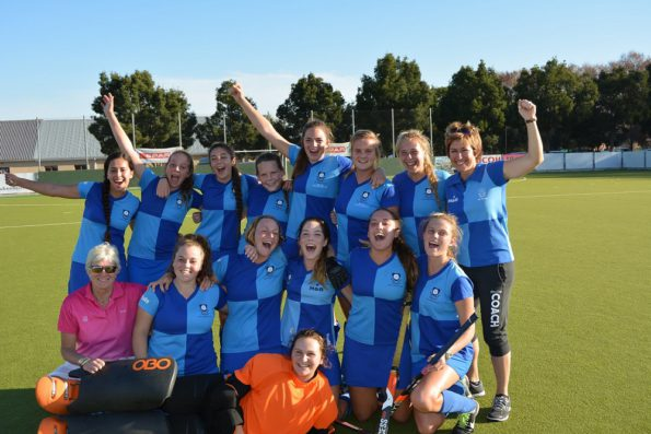 York High celebrate after winning the Southern Cape leg of the SPAR Eastern Cape Schoolgirls Hockey Challenge in George on Saturday. Photo: Full Stop Communications