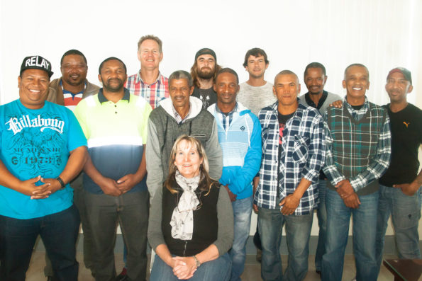 The facilitator, Ms Sherley Storey(front) with Eden DM Roads employees. Middle: Mr Afrika Heyns, Mr Kenhardt Jantjies, Mr Nicholas Jantjies, Mr Phillipus Scholtz, Mr Marthinus Februarie, Mr Jacobus Joseph and Mr Daniël Phokaners. Back (fltr): Mr James Gunguluza, Mr Franswa Hough, Mr Juan Theron, Mr Limon Els and Mr Thomas Rixana