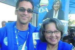 Tertius Simmers, a member of the Eden District municipality mayoral committee, with DA provincial leader Patricia de Lille