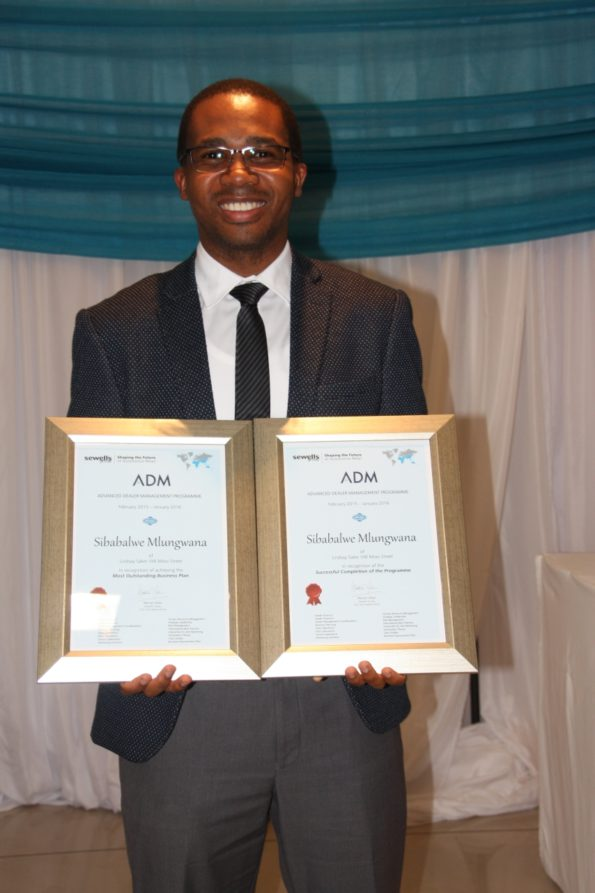 Sibabalwe Mlungwana, of Lindsay Saker, won a special award for his outstanding business plan in the Volkswagen Optima Group's Advanced Dealer Management programme