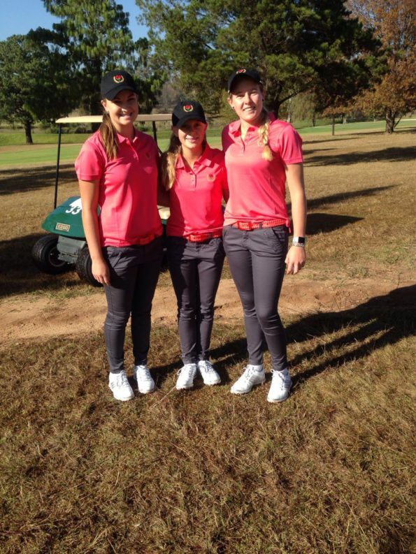 2016 Challenge Trophy champions Casandra Hall, Sarah Bouch and Caitlyn Mcnab from Ekurhuleni A at the 72-Hole Teams Championship at Middelburg Country Club; credit Jacquie MacKenzie
