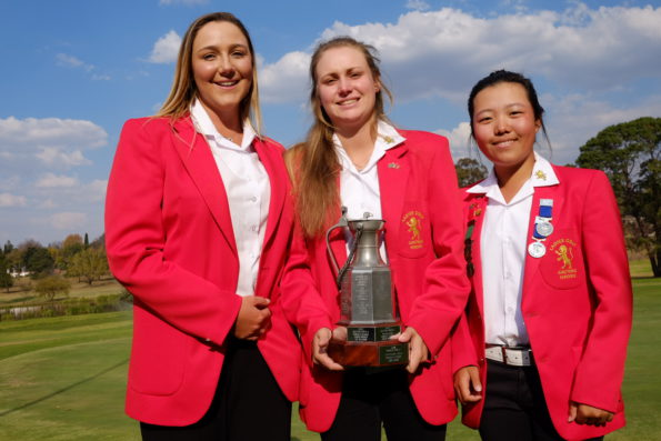 2016 Swiss Team Trophy champions Ivanna Samu, Kaleigh Telfer and Woo-Ju Son from Gauteng A at the 72-Hole Teams Championship at Middelburg Country Club; credit Kim Son
