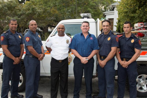 Firefighters who won the first place in the International Firefighter Day Challenge. Fltr, Mr Edwin Lottering, Mr Branville Abrahams, Mr Freddy Thayver - newly appointed Fire Chief, Mr Gerhard Otto - Manager: Emergency Services/MDMC, Mr Emile Conrad and Mr Deon Stoffels